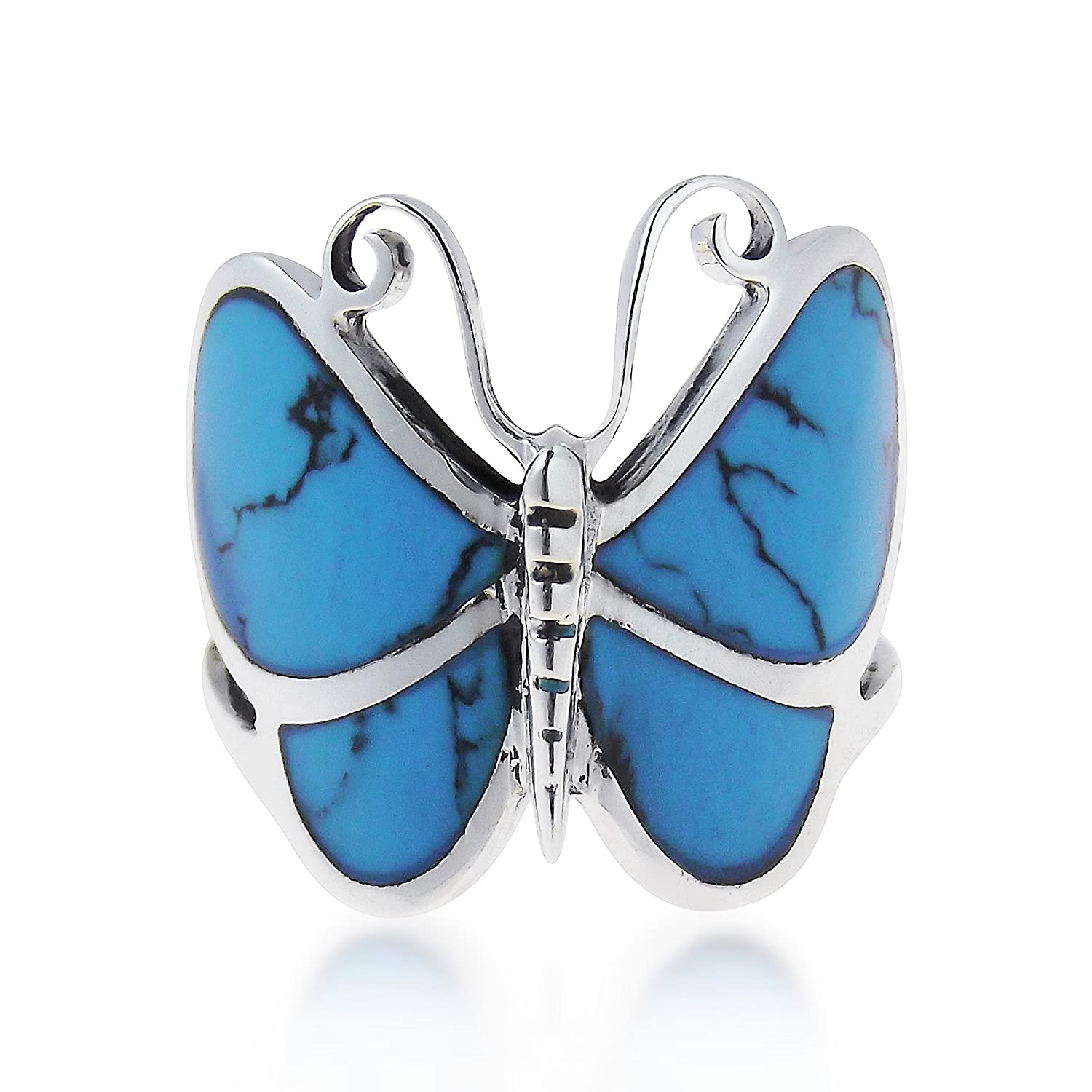 AeraVida Big Simulated Turquoise Butterfly .925 Sterling Silver Ring SR-0007-BTQ