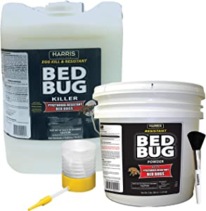 HARRIS Commercial Bed Bug Kit - 5 Gallon Liquid and 80oz Powder with Powder Duster and Brush Applicator