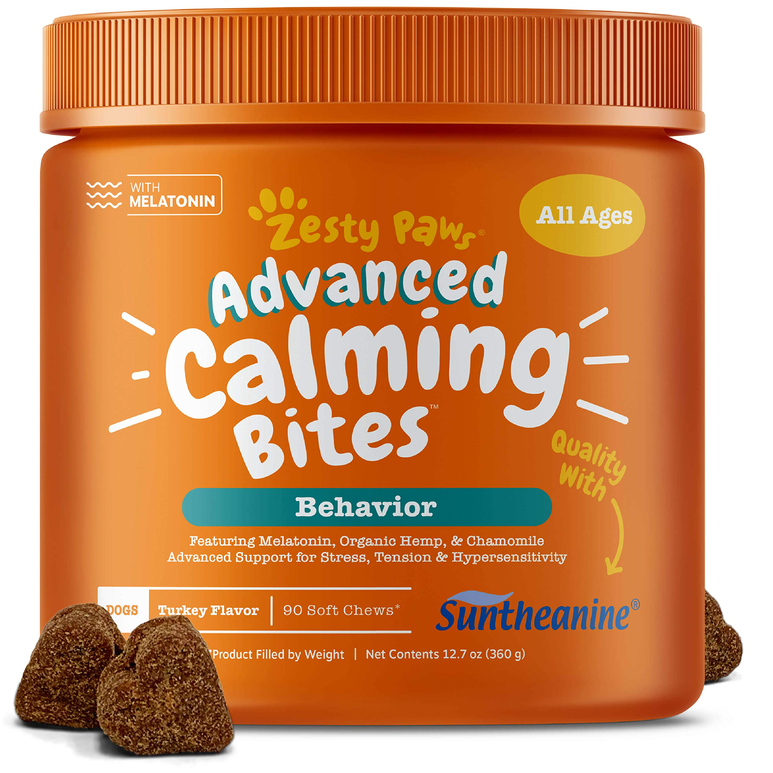 Zesty Paws Advanced Calming Soft Chews for Dogs - with Suntheanine & Melatonin - Anxiety Composure Aid with L Tryptophan for Dog Stress Relief - for Storms + Barking & Chewing - 90 Chew Treats by Zesty Paws