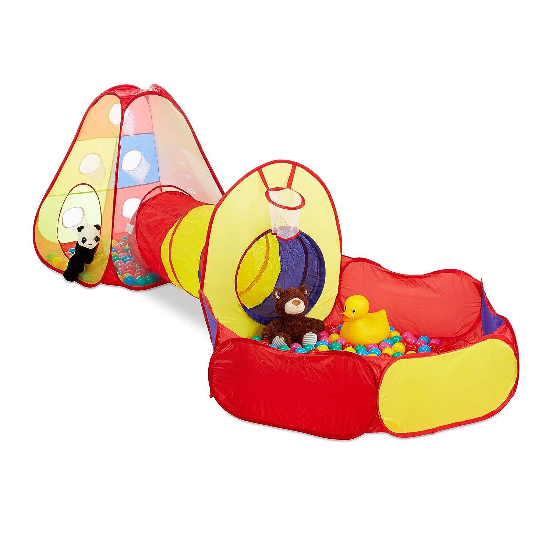 Relaxdays 10024761 Bain de balles Tunnel, 3 pièces 100 balles d'intérieur d'extérieur à partir de 3 Ans de 3 Ans Multicolore