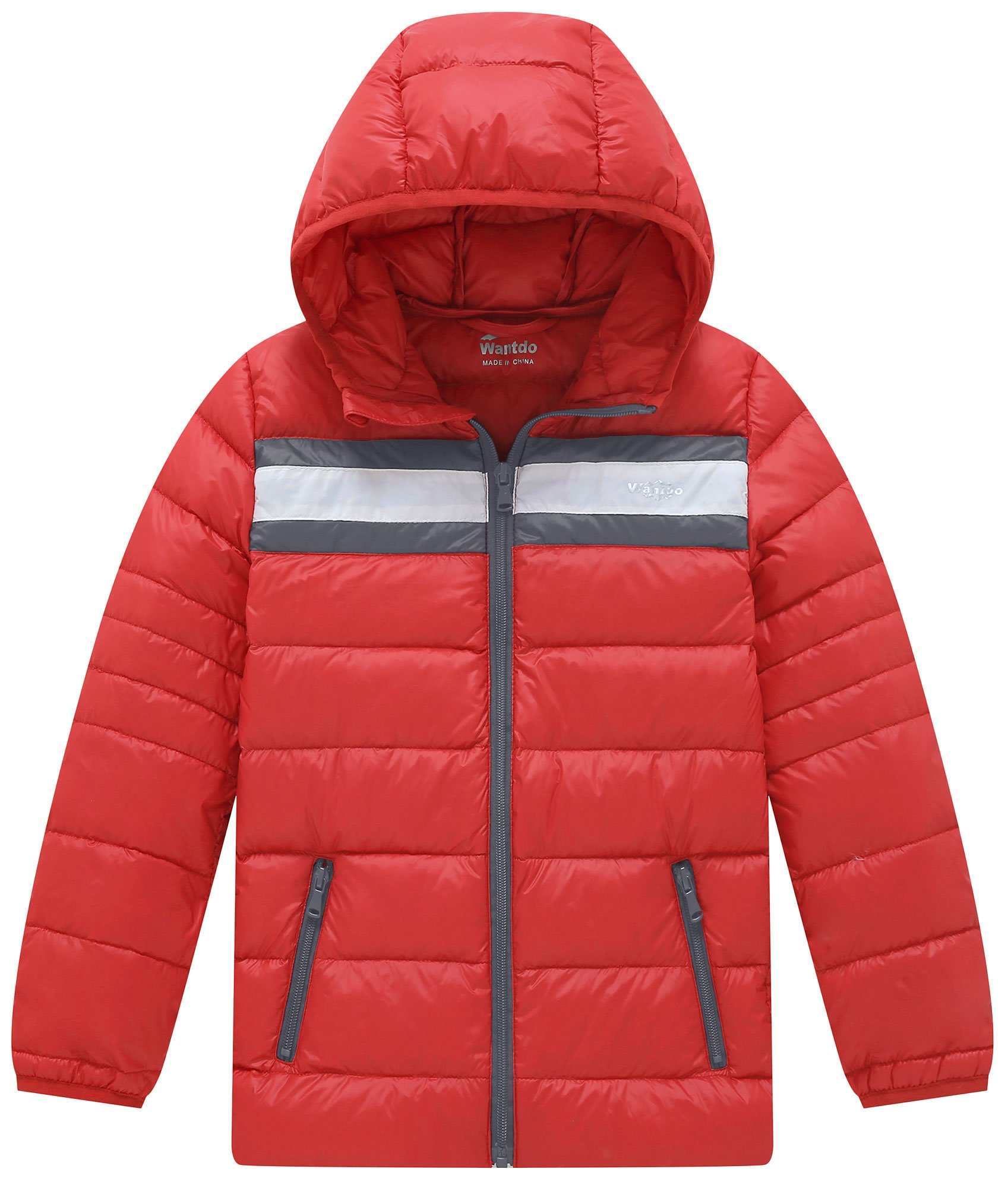Wantdo Boy's Light Weight Casual Winter Jacket with Hood Down Coats Zippered Outwear(Lily Orange Red, 10/12)