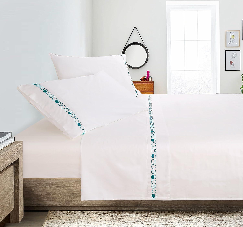 Putianホーム100 %コットン400スレッドパーケール刺繍シートセット クイーン グリーン B075S12V88 クイーン|White+seagreen White+seagreen クイーン