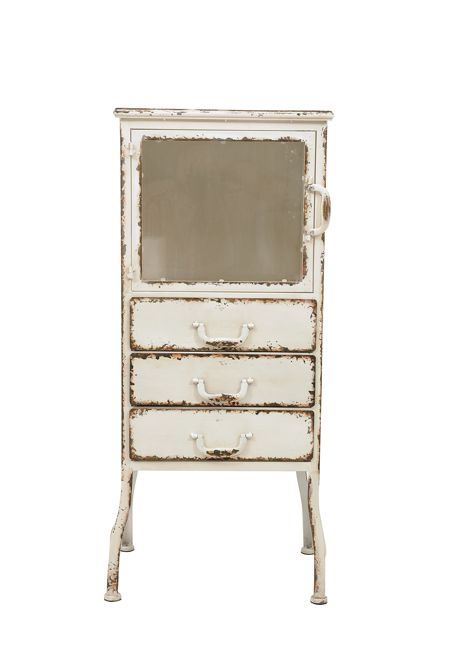 Creative Co-op DA1924 Metal Cabinet with Three Drawers, Distressed White