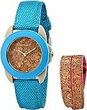 Sprout Women's ST/1064BLPKST Blue Organic Cotton Strap Watch and Cork Bracelet Set