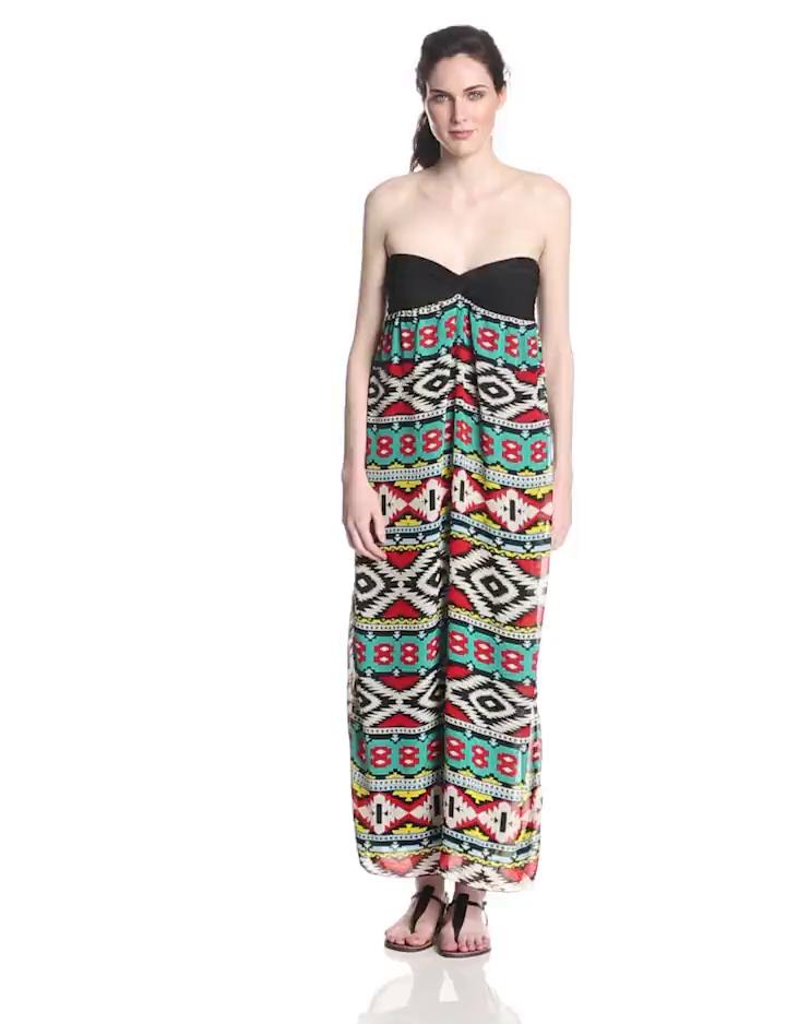 Star Vixen Women's Strapless Solid Bratop Chiffon Skirt Maxi Dress, Red/Turquoise, Large