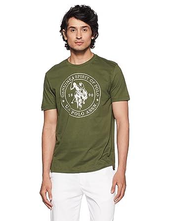 a735791d8f U.S. Polo Assn. Men's Solid Regular Fit T-Shirt: Amazon.in: Clothing ...