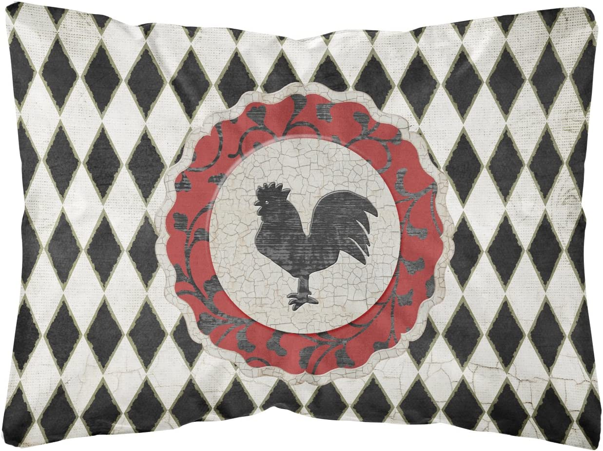 Caroline s Treasures SB3086PW1216 Rooster Harlequin Black and White Canvas Fabric Decorative Pillow, 12H x16W, Multicolor