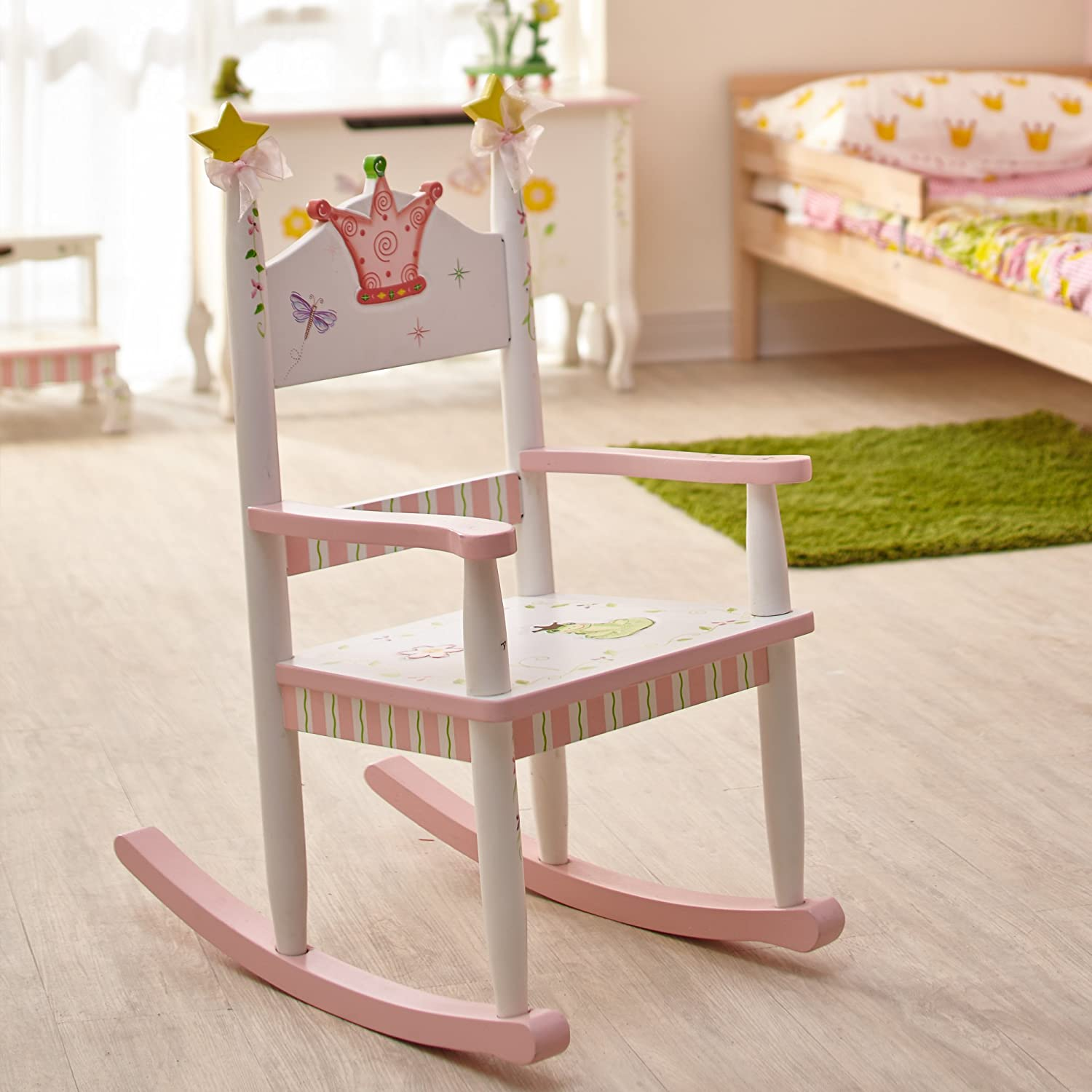 All products baby amp kids nursery furniture rocking chairs - Fantasy Fields Princess Frog Themed Kids Wooden Rocking Chair Hand Crafted Hand Painted Details Child Friendly Water Based Paint Amazon Co Uk
