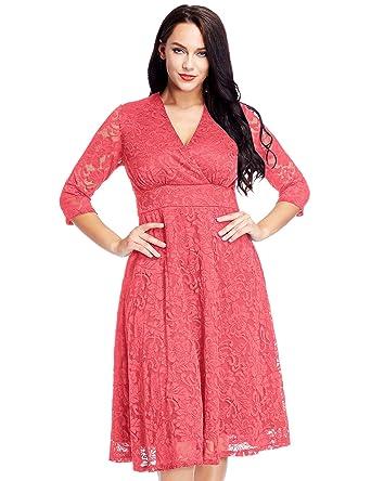 Lookbook Store LookbookStore Women\'s Plus Size Coral Pink Lace ...