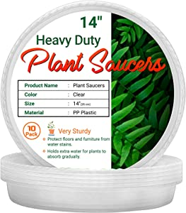 AAA Best Deal 14 inch - 10 Pack - Plant Saucers for Indoor and Outdoor Use, Heavy Duty Tray, Deeper Saucer to Avoid Over-Spills. Made with Thicker and More Durable Plastic for Longevity.
