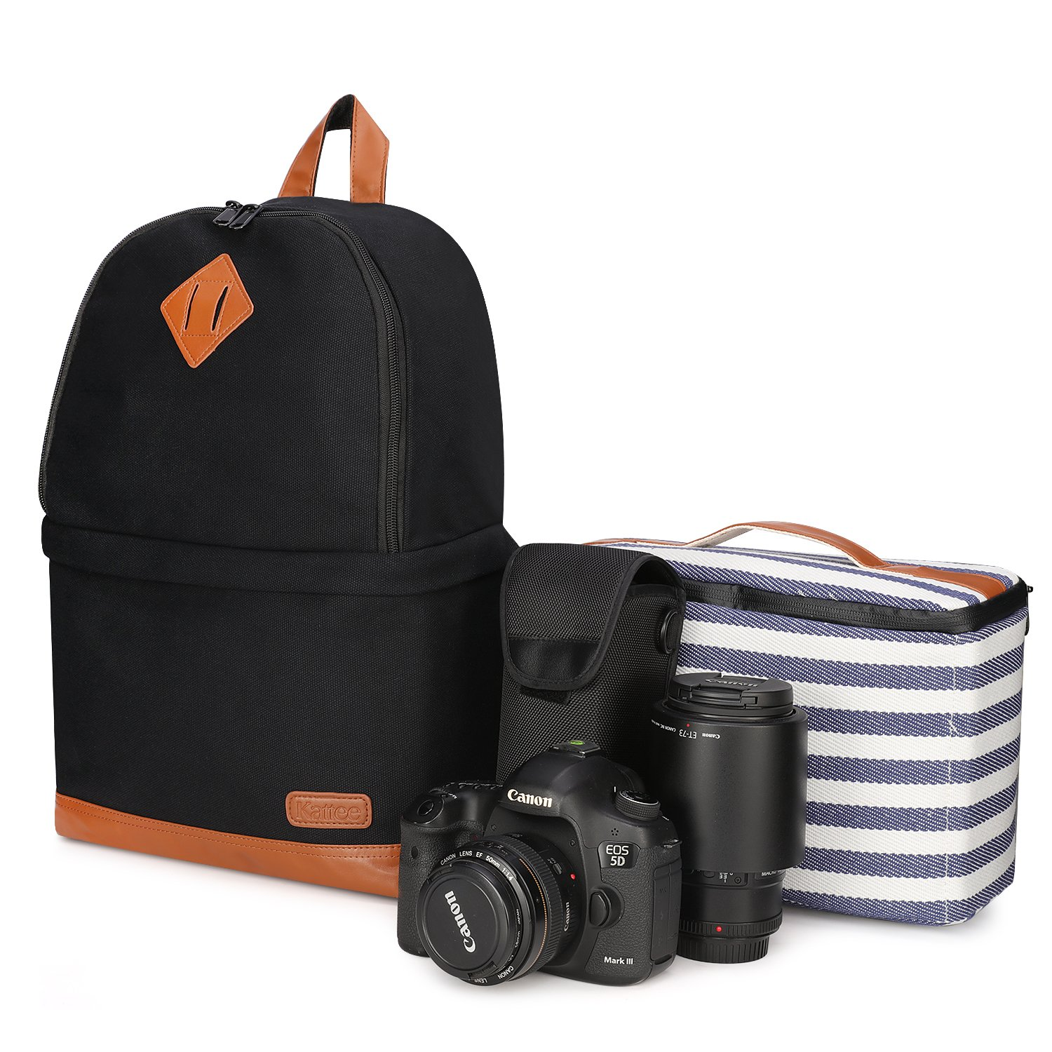 The Kattee Professional Canvas SLR DSLR Camera Backpack travel product recommended by Brittany DiCologero on Lifney.