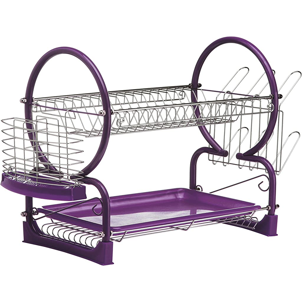 Premier Housewares Purple 2-Tier Dish Drainer