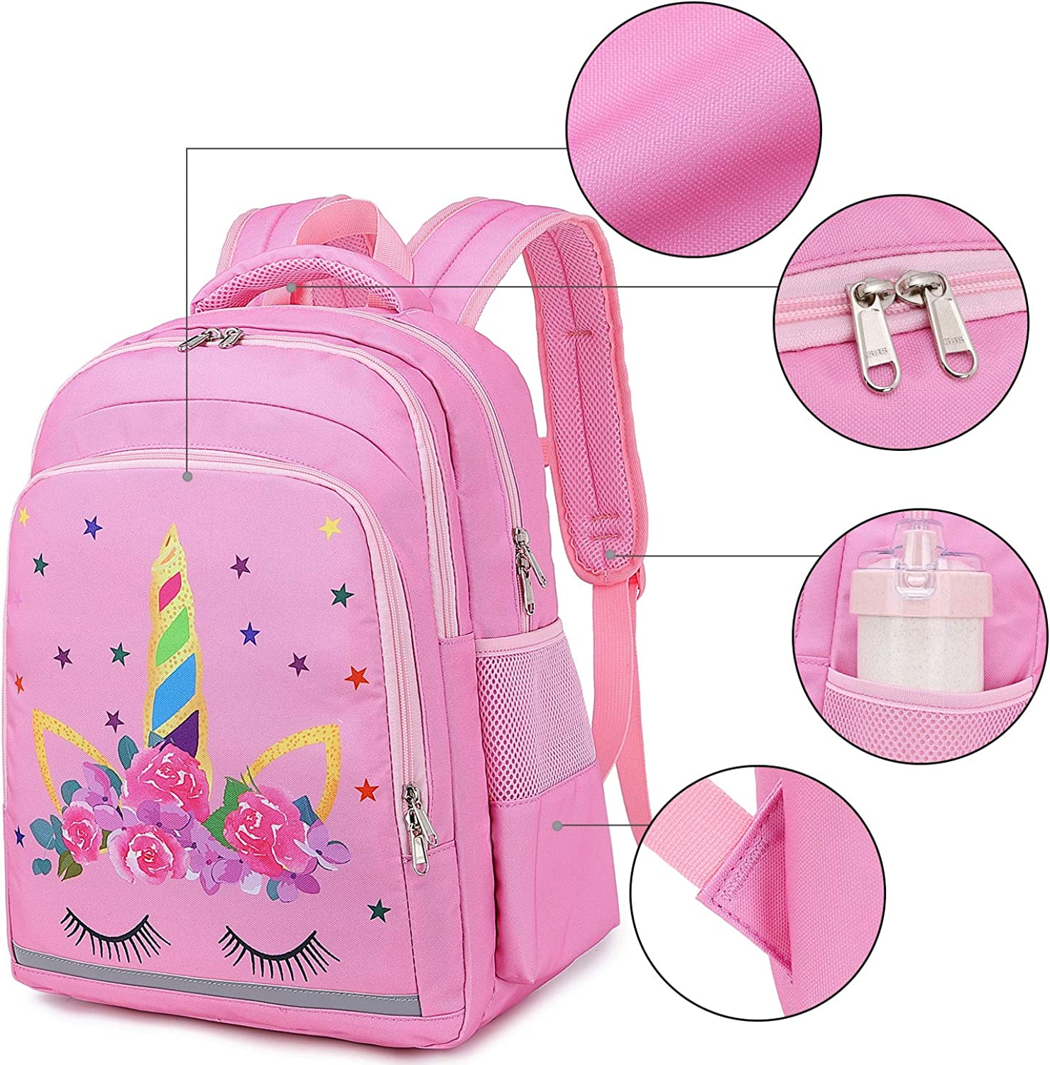 CAMTOP Girls Backpack for School Girls Backpack with Lunch Box Kids BookBag Set for Elementary Middle School Unicorn