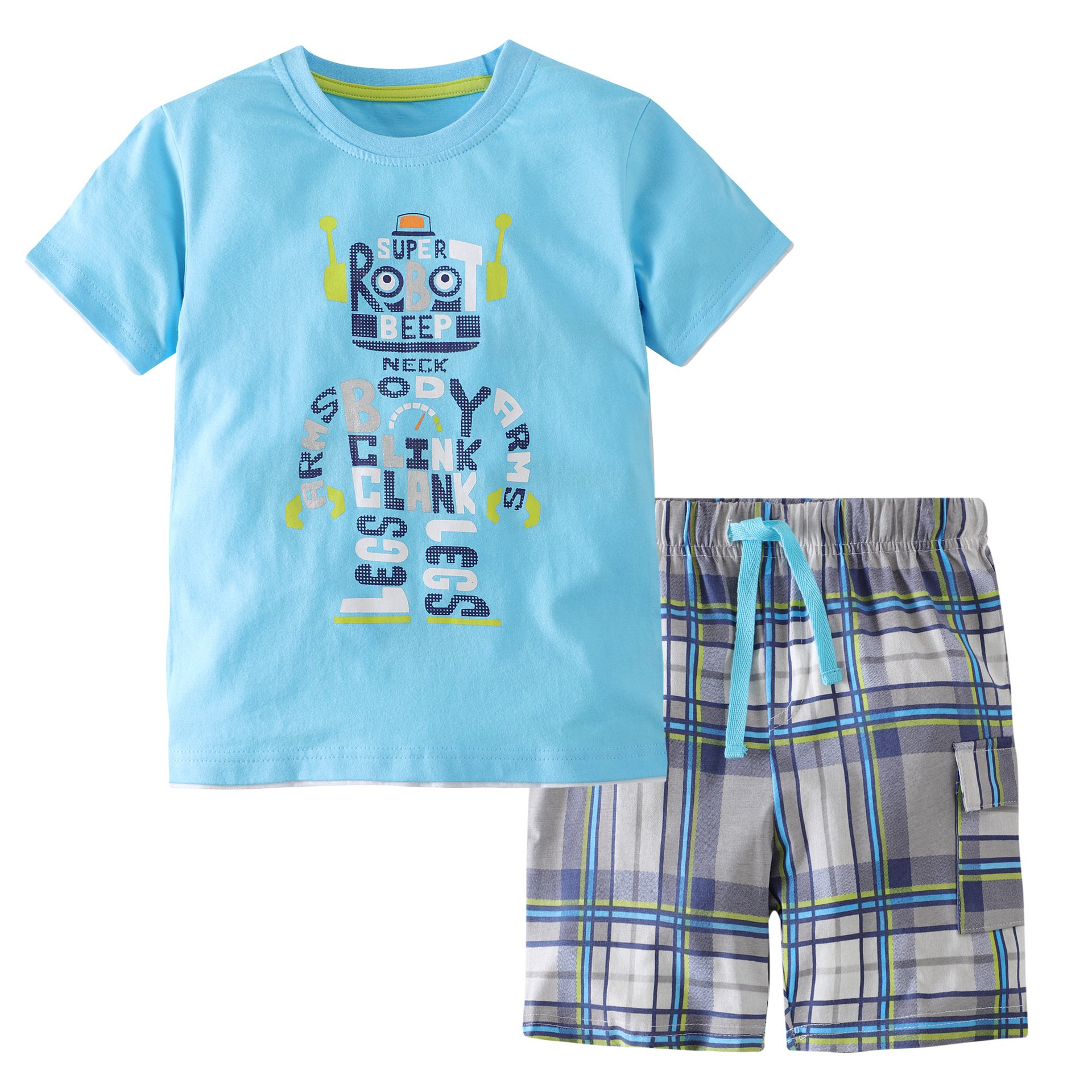 Heris Little Boys' Summer Cotton Short Sleeve Clothing Sets (5T, Blue3)