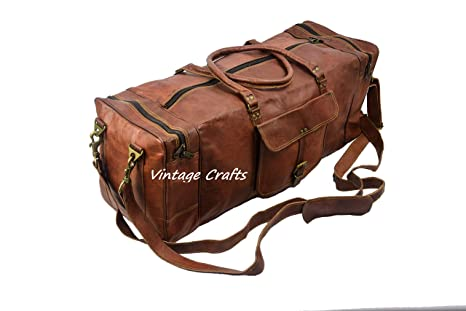 7c188823b9 Image Unavailable. Image not available for. Color  28 quot  Inch Real Goat  Vintage Leather Large Handmade Travel Luggage Bags in Square Big Large