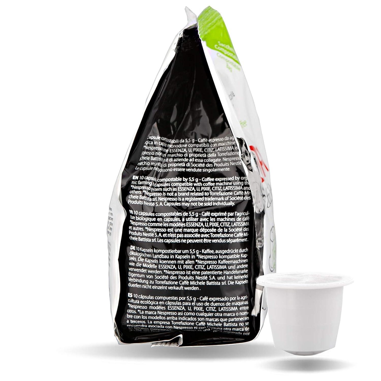 VIDA BATTISTINO - 100 cápsulas COMPOSTABLES de Café BIOLOGICO - Compatible con Nespresso*: Amazon.es: Alimentación y bebidas