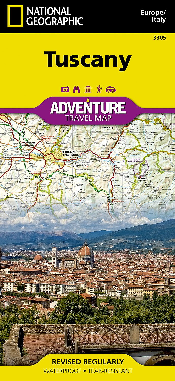 Map Of Italy With Mountains.Tuscany Italy National Geographic Adventure Map National