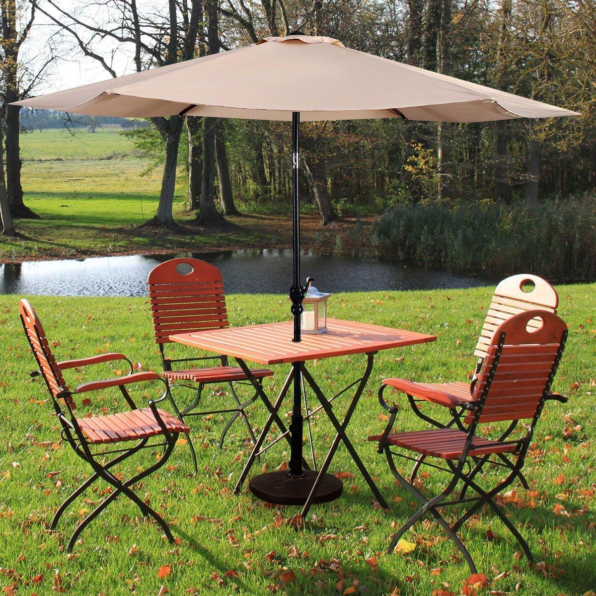 Giantex 10ft Solar Patio Umbrella Sunbrella Without Lights, 6 Ribs Market Steel Tilt w Crank for Garden, Deck, Backyard, Pool Indoor Outdoor Use