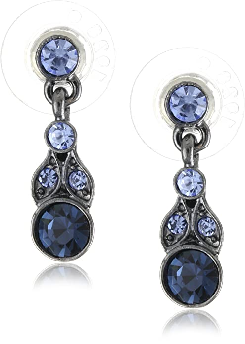1920s Gatsby Jewelry- Flapper Earrings, Necklaces, Bracelets 1928 Jewelry Hematite-Tone and Tonal Blue Drop Earrings $14.23 AT vintagedancer.com