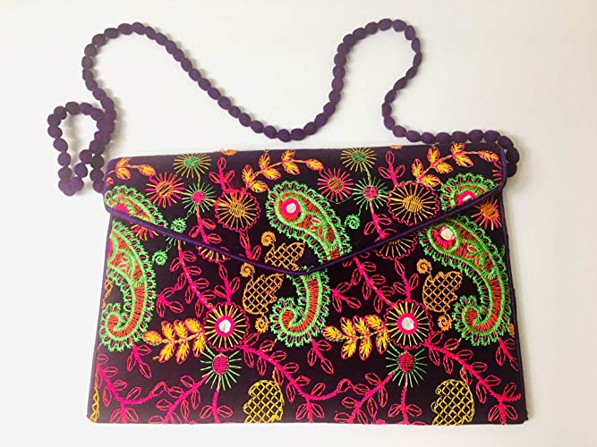 108b9f172f Amazon.com  Handmade embroidered floral clutch shoulder bag  Handmade