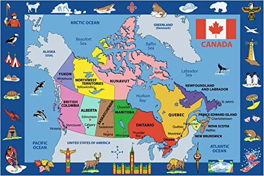 Amazon Com Fun Rugs Map Of Canada 51 X78 Area Rug Kitchen