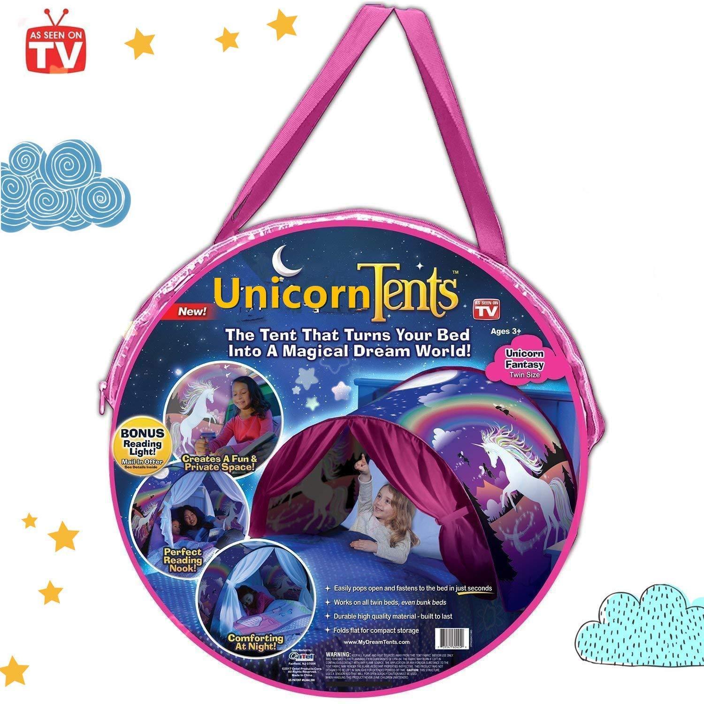 NiLeFo Tienda de campaña para niños PlayTentsPop Up BedtenCastles Regalo de cumpleaños Ropa de Cama decoración (Carpa de Unicornio)