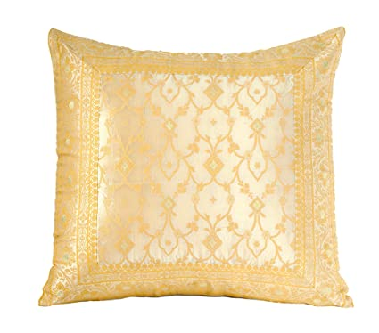 Worldcraft Indian Sari Decorative Pillow Cover Oversized Couch Throw Pillows Hand Stitched From Embroidered Fabric 24x24 Inches Cream