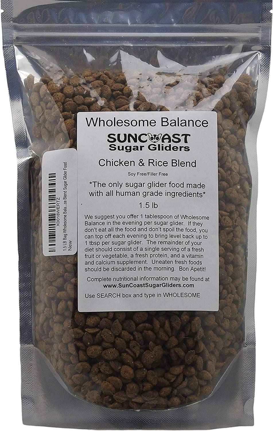 1.5 LB Bag Wholesome Balance Chicken & Brown Rice Blend Sugar Glider Food - New Lower Price!