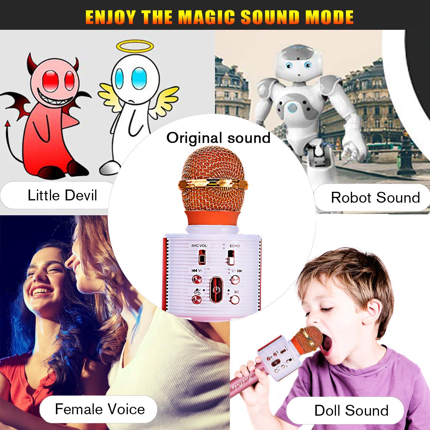 FishOaky Wireless Bluetooth Karaoke Microphone, Portable Kids Microphone Karaoke Player Speaker with LED & Music Singing Voice Recording for Home KTV Kids Outdoor Birthday Party (Rose Gold) by FishOaky (Image #6)