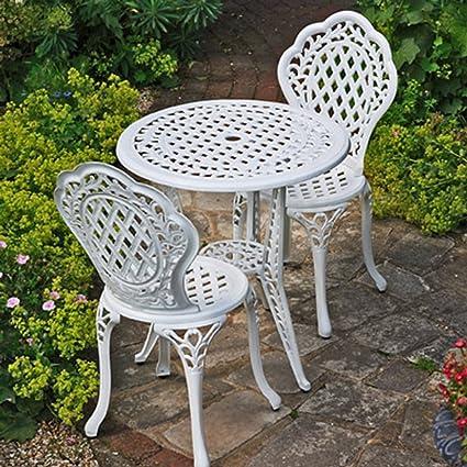 Blanc Mobilier de jardin Ensemble bistro Ivy en aluminium ...