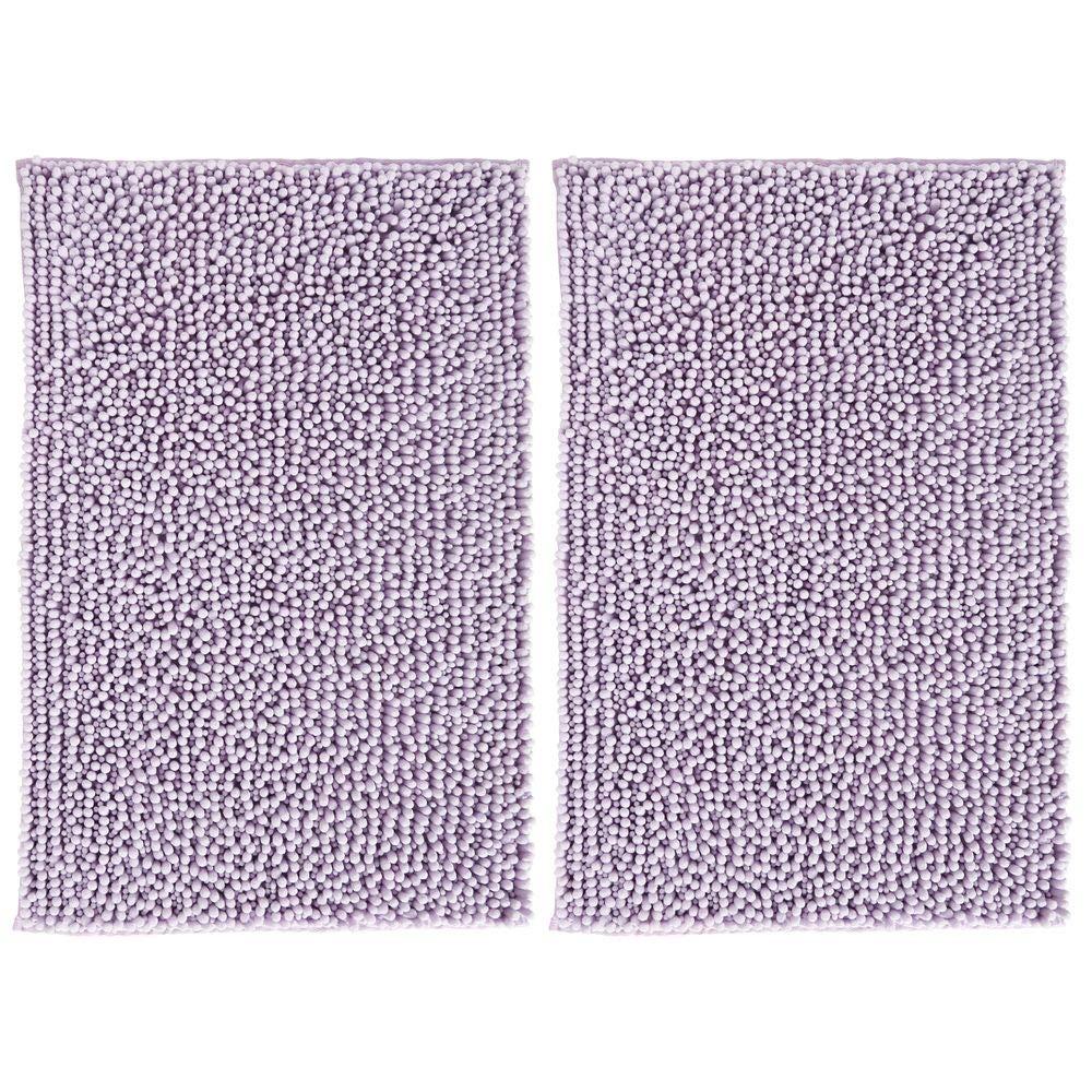 "mDesign Soft Microfiber Non-Slip Polyester Non-Slip Rectangular Spa Mat, Plush Water Absorbent Accent Rugs Bathroom Vanity, Machine Washable - 30"" x 20"" - Sets 2, Lavender/Purple"