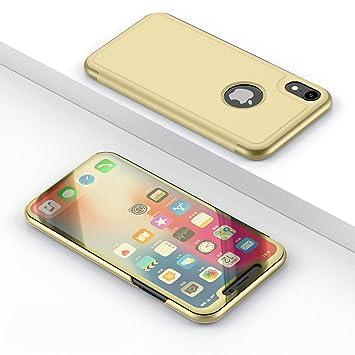 8c71aa9a4e 半透明 iPhone XS Max iPhone XR ケース カバー 鏡面 ミラー クリア 手帳型 鏡 時間
