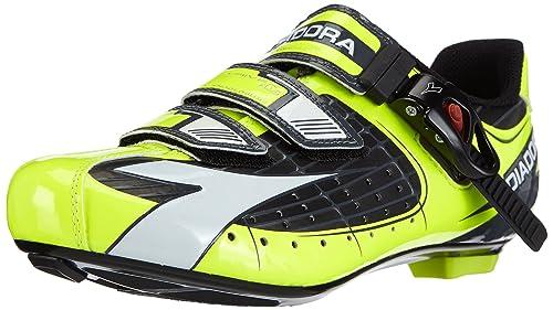 Diadora TRIVEX Plus, Zapatillas de Ciclismo de Carretera Hombre^Mujer, (Schwarz/Gelb Fluo/weiß 3444), 50 EU: Amazon.es: Zapatos y complementos