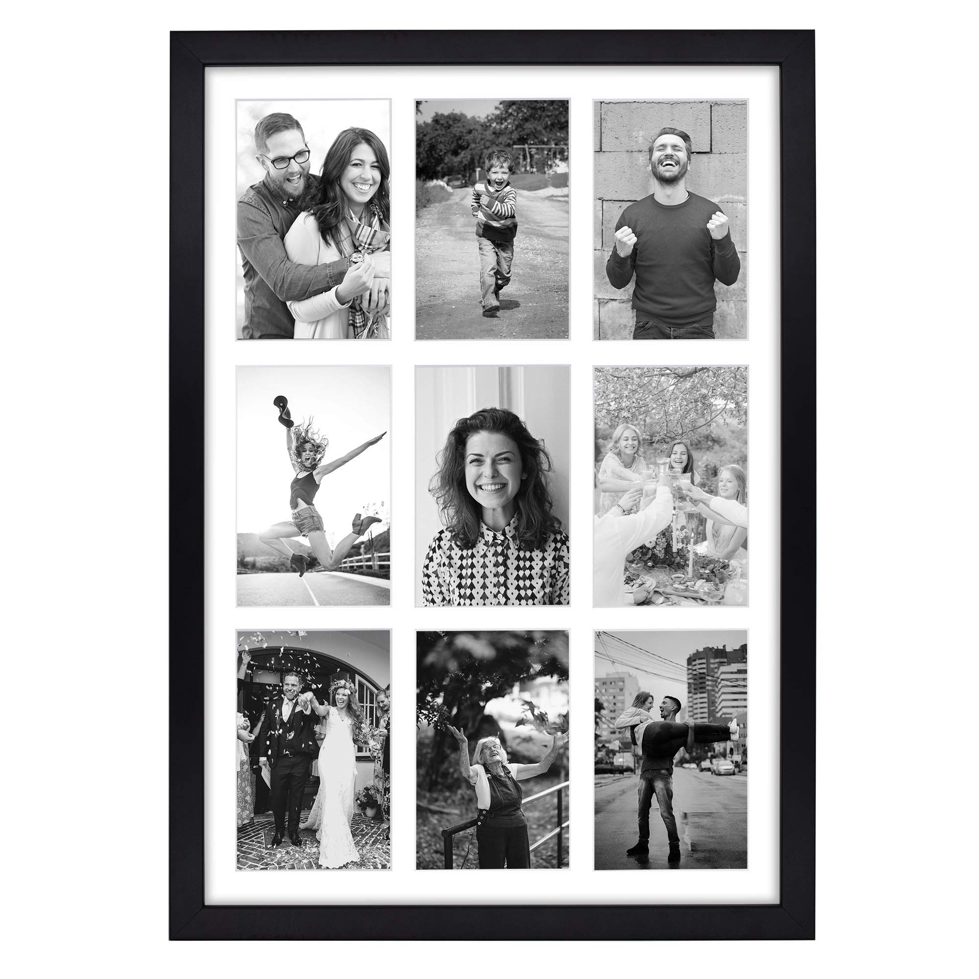 Golden State Art, 13.6x19.7 Black Photo Wood Collage Frame with Real Glass and White Displays (9) 4x6 Pictures by Golden State Art
