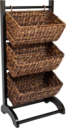 BIRDROCK HOME 3-Tier Abaca Storage Cubby Brown – Made of Extremely Durable Abaca Fiber – Solid Wood Frame