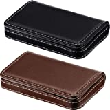 2 Pieces Business Card Holder, Business Card Wallet PU Leather Business Card Case Pocket Business Name Card Holder with…