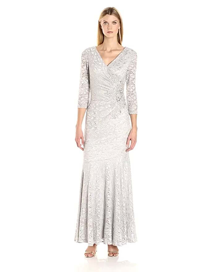 Vintage Inspired Bridesmaid Dresses Alex Evenings Womens Long V-Neck Fit and Flare Dress $279.00 AT vintagedancer.com