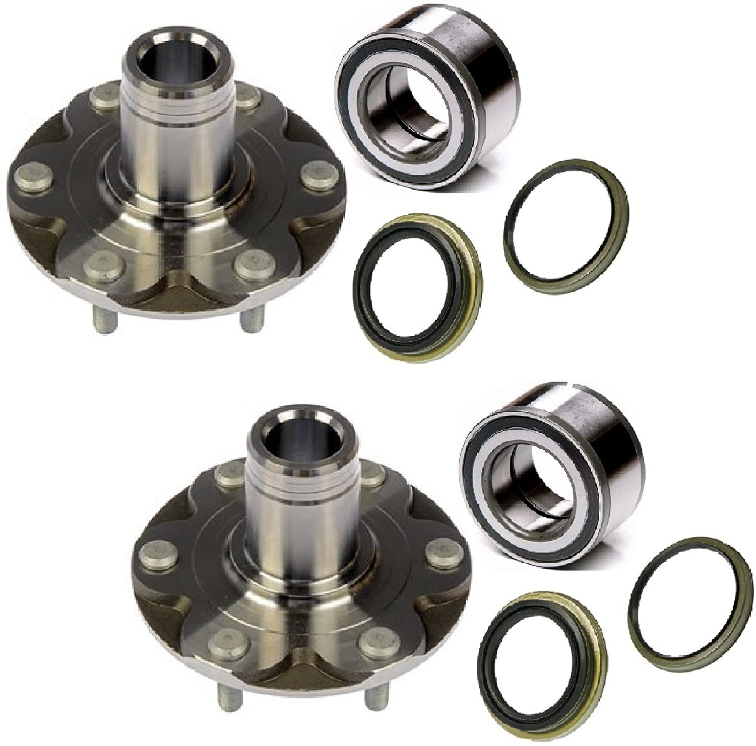 8USAUTO Pair Front Left and Right Wheel Hub and Bearing with Seal fit 2001 2002 2003 2004 Toyota Tacoma 6Lug 4WD, exclude The Wheel hub with Manual Lock on core