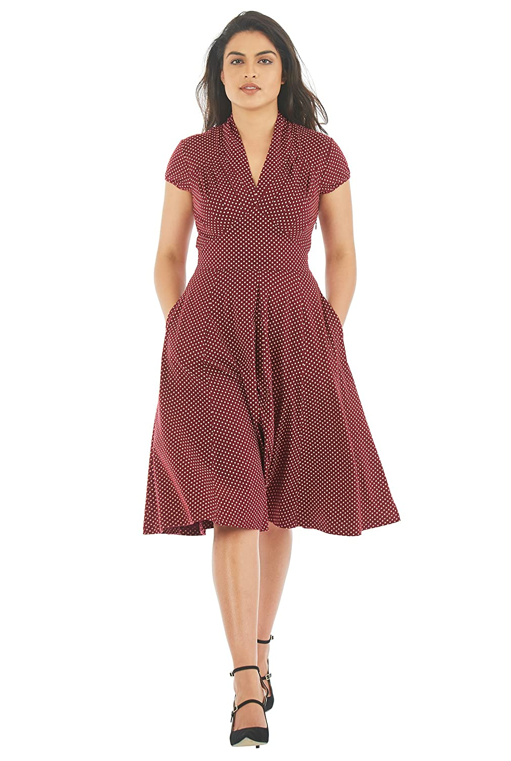 Vintage Polka Dot Dresses – Ditsy 50s Prints eShakti Womens Feminine pleated polka dot cotton knit dress $60.95 AT vintagedancer.com