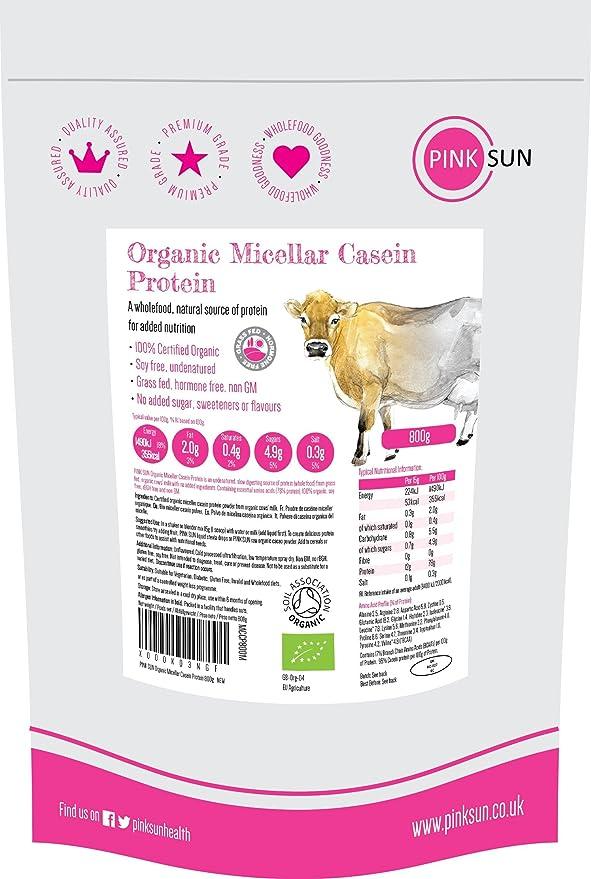 PINK SUN Micelar Caseina Proteina Organica 800g - Organic Micellar Casein Protein Powder Grass Fed, Soy Free, Unflavoured: Amazon.es: Salud y cuidado ...