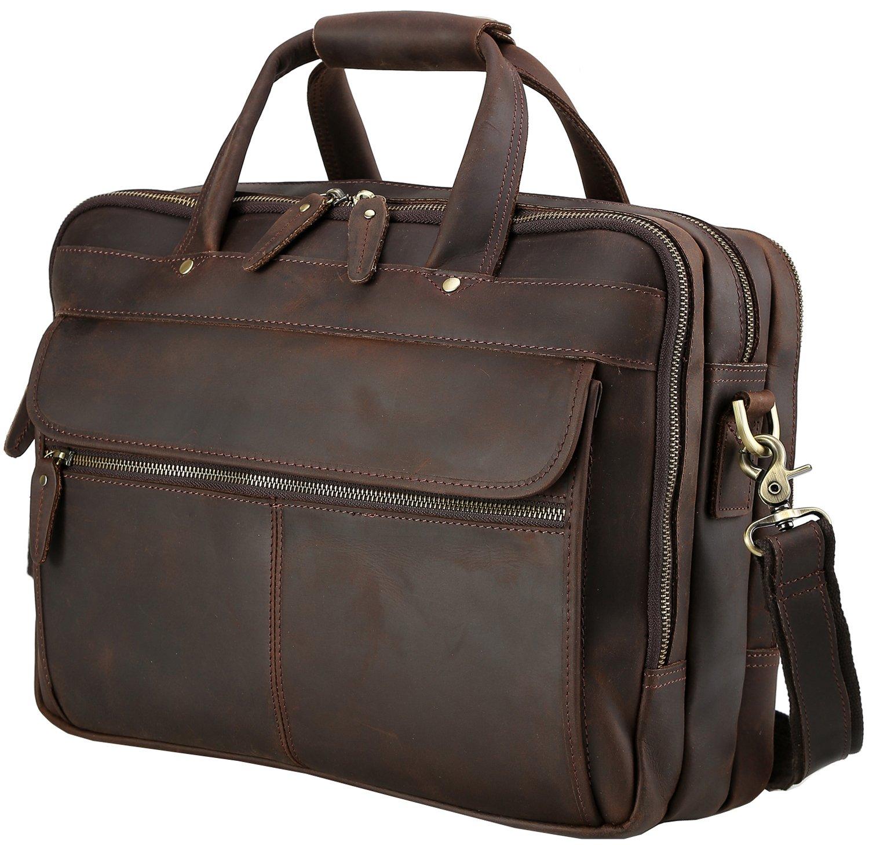 "Iswee Men' Leather Messenger Bag 14"" 16"" Laptop Case Fit 2 Laptops Briefcase Vintage Attache Case For Men"