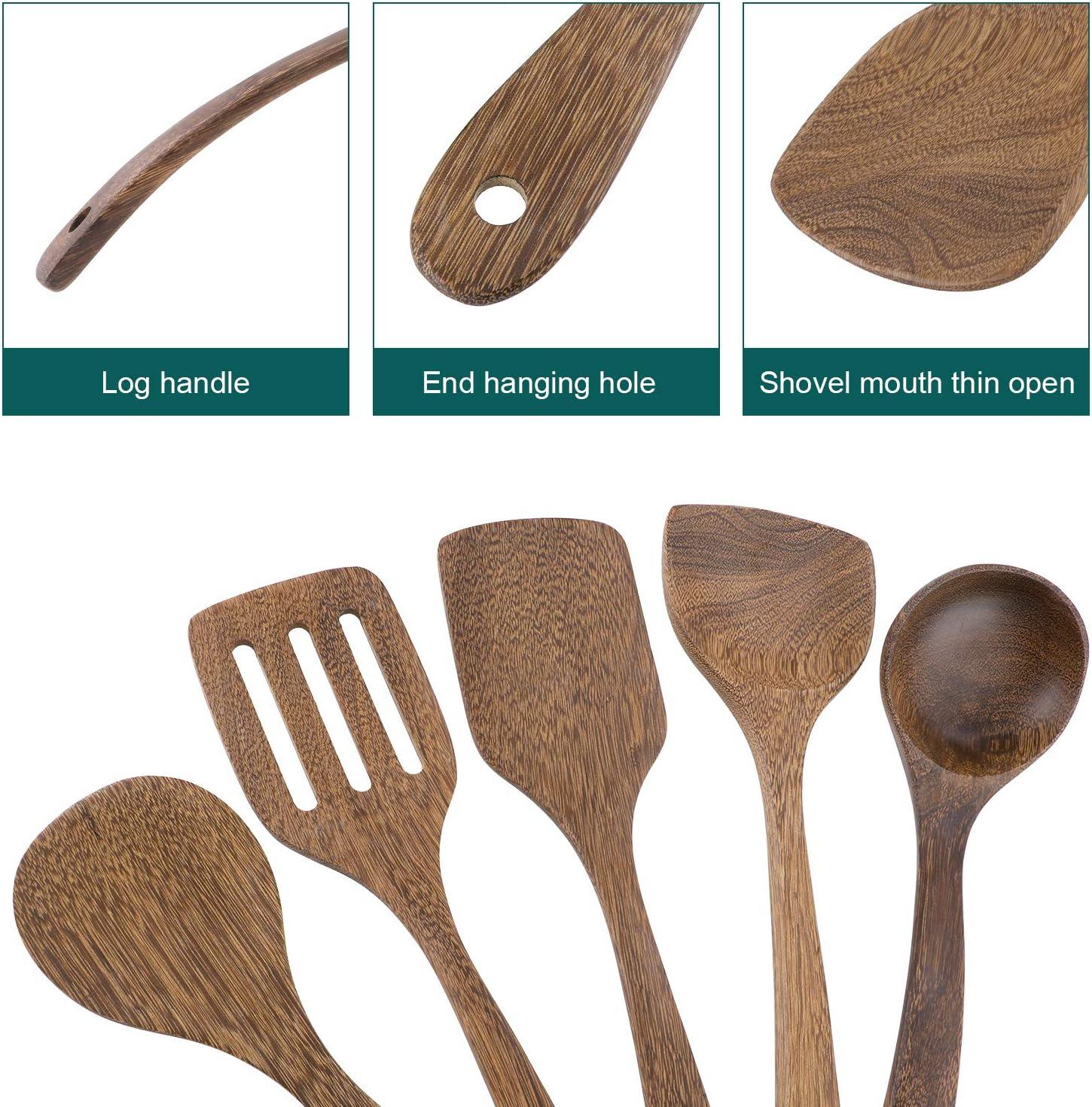 Anti-rayures Japonais Cuill/ères de cuisson R/ésistants /à la chaleur Ensemble de 5 ustensiles de cuisine en bois Pour po/êles antiadh/ésives Spatule en bois