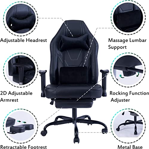 Blue Whale Gaming Chair PC Computer Game Chair with Footrest Racing Gamer Chair Ergonomic Office Chair High-Back PU Leather Computer Desk Chair with Lumbar Cushion and Headrest 8340Black