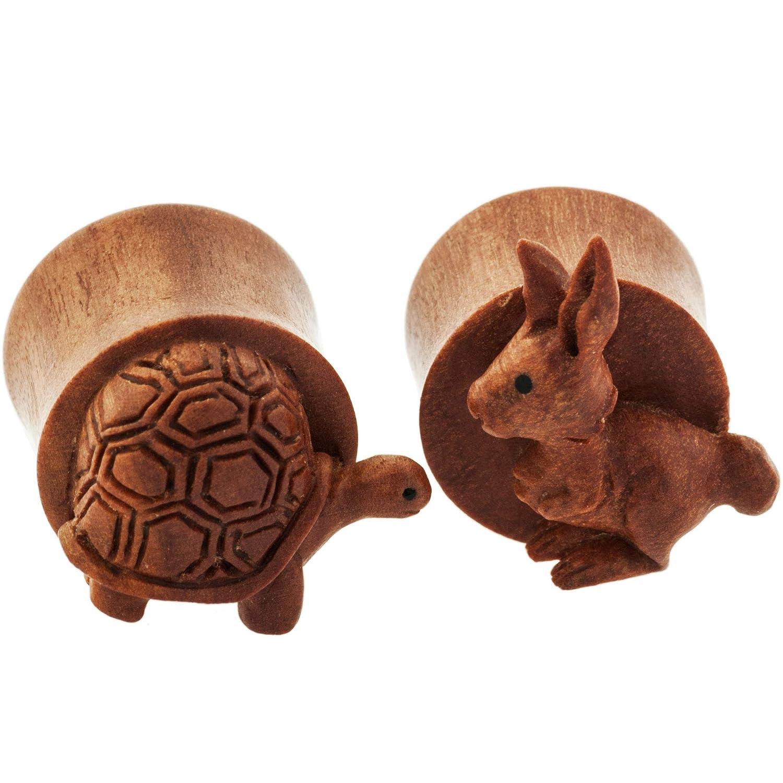 Pair of Sabo Wood Tortoise /& Hare Plugs