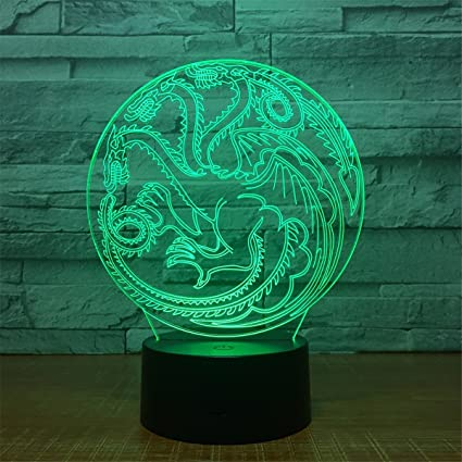 Stunning Visual Dragon 3D Touch Optical ILLusion Night Light 7 Colors  Changing Beside Table Desk Deco