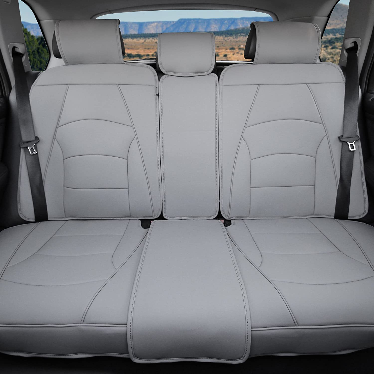FH Group PU205013 Ultra Comfort Leatherette Seat Cushions (Split Bench) Solid Gray Color- Fit Most Car, Truck, SUV, or Van