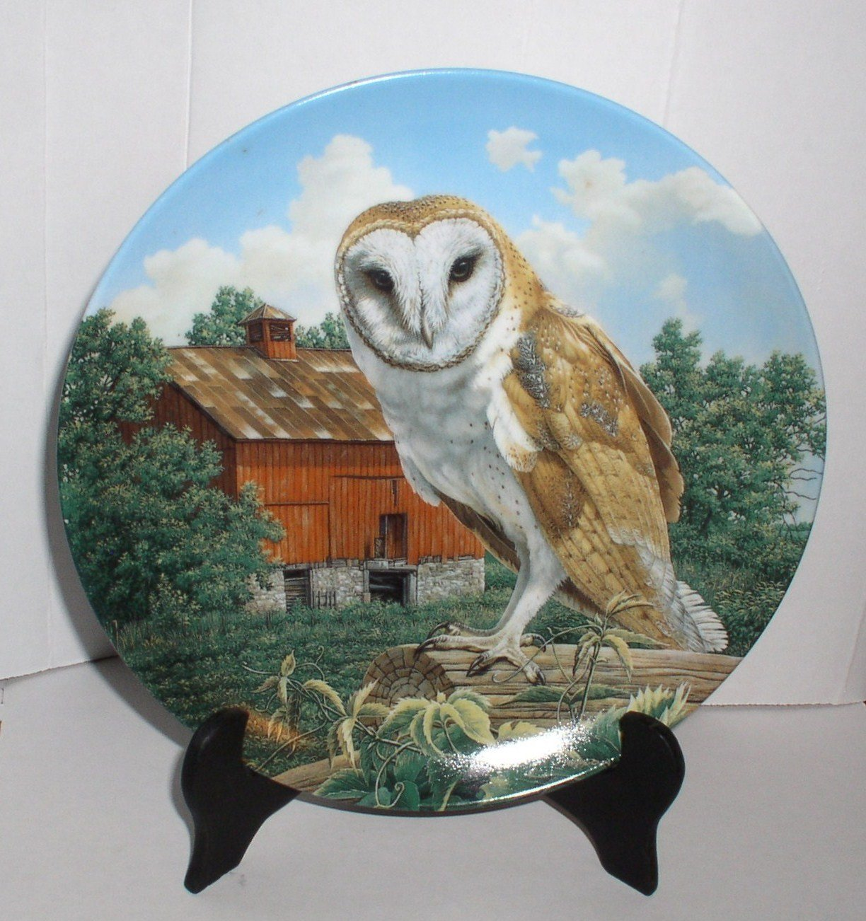 1990THE BARN OWL COLLECTOR PLATE #7580 A LIMITED EDITION
