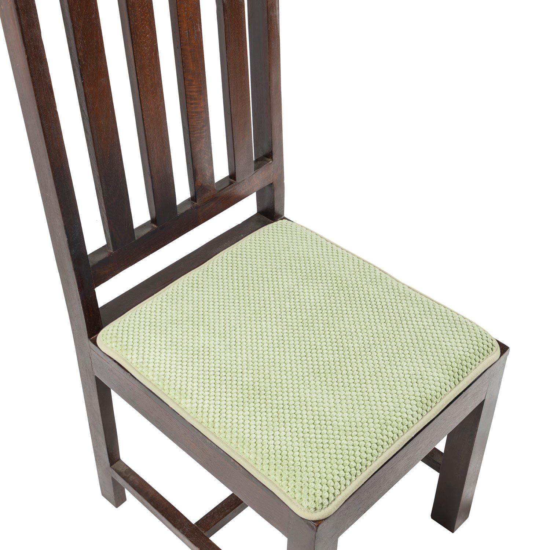 Homescapes cuscino in memory foam 40 x 40 cm 40/x 40/cm lavabile morbido tessuto Sage Green set di 2/cuscini per sedie con rivestimento antiscivolo