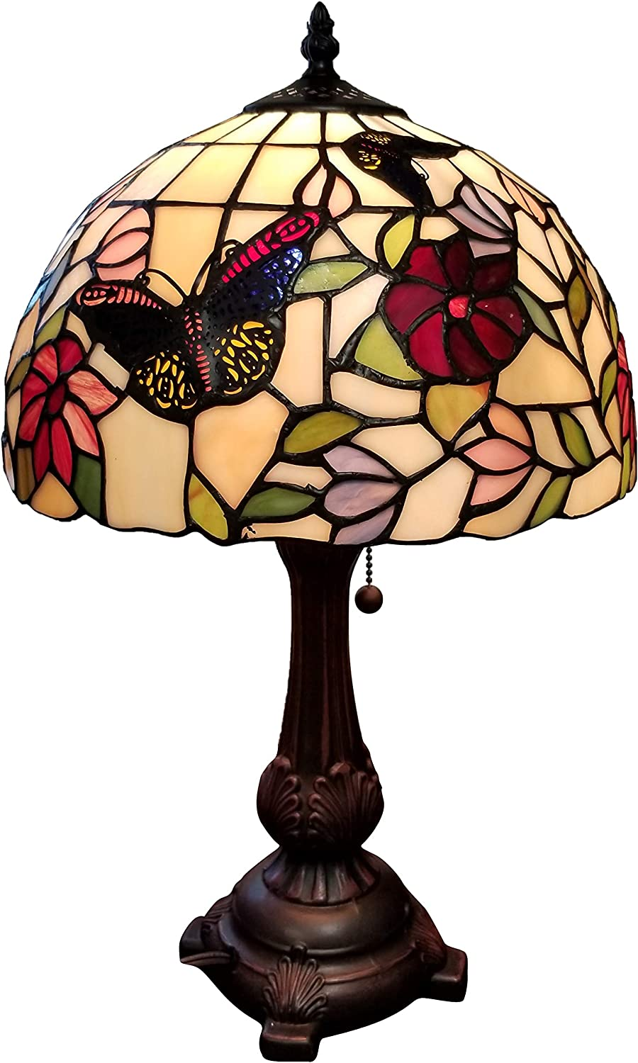 "Tiffany Style Table Lamp Banker 19"" Tall Stained Glass Red Green White Floral Flower Butterfly Antique Vintage Light Decor Bedside Living Room Bedroom Handmade Gift AM061TL12B Amora Lighting"