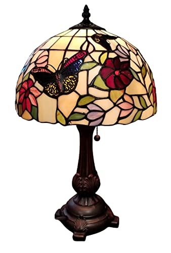 Tiffany Style Table Lamp Banker 19 Tall Stained Glass Red Green White Floral Flower Butterfly Antique Vintage Light Decor Bedside Living Room Bedroom Handmade Gift AM061TL12B Amora Lighting
